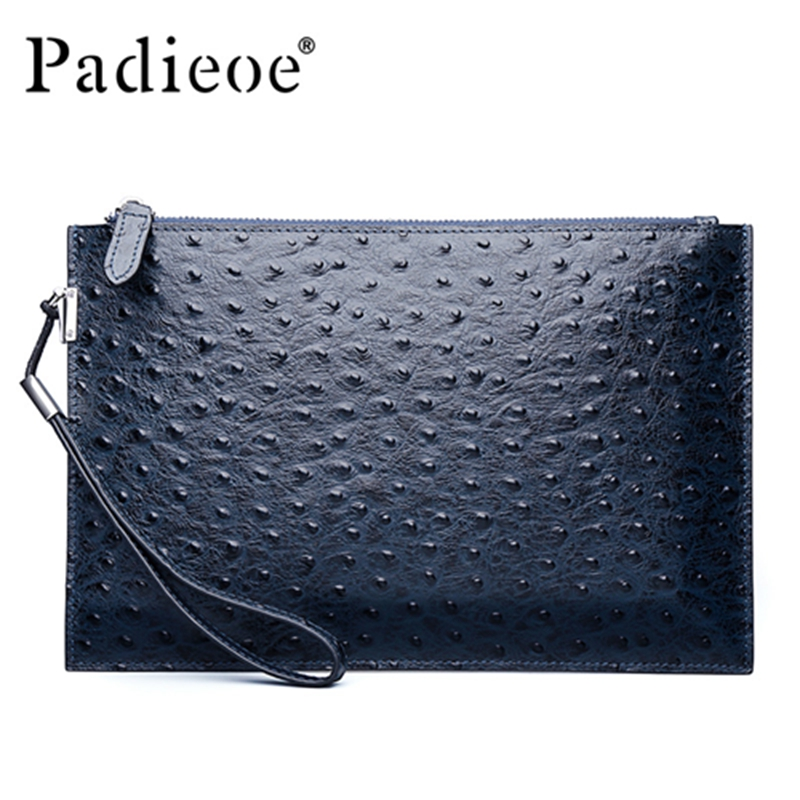 Padieoe Luxury Ostrich Pattern Design Genuine Cow Leather Day Clutch Fashion Durable Big Capacity Business Wallet for Men Women<br>