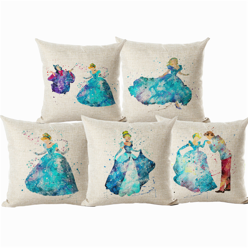 Cartoon Style Colorful Princess Housewear Chair Cushion Throw Pillow Cojines Almofadas Cotton Linen Square Kids Christmas Gift(China (Mainland))