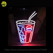 Neon Sign Pep Soda Cup Neon Light Sign Beer Energy Drink Sign Cool Neon Bulbs Arcade handcraft Glass Neon Lamps Commercial 17x14(China)