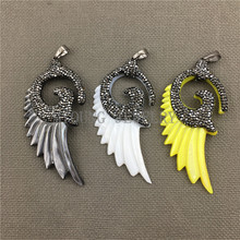 MY0476  Fashion Mix Color Angel Wings Shell Pendant With Paved Rhinestone Crystal Stone Necklace Pendants For Jewelry DIY