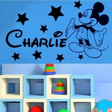 Free Shipping Cute Mickey Mouse boys bedroom Custom name wall Decal Children Vinyl Art  decal For Home decoration