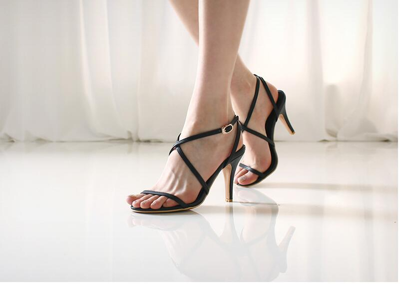 Hot new female High-heeled sandals fashion 2017 womens sandals summer Cross-Strap Casual Color female high-heeled 7-9cm<br><br>Aliexpress