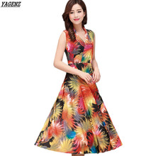 Buy YAGENZ Summer Women Dress 2017 New Costume Middle-aged Mother Milk Silk Dress V neck Print Long Dress Plus Size Women Clothing for $13.25 in AliExpress store