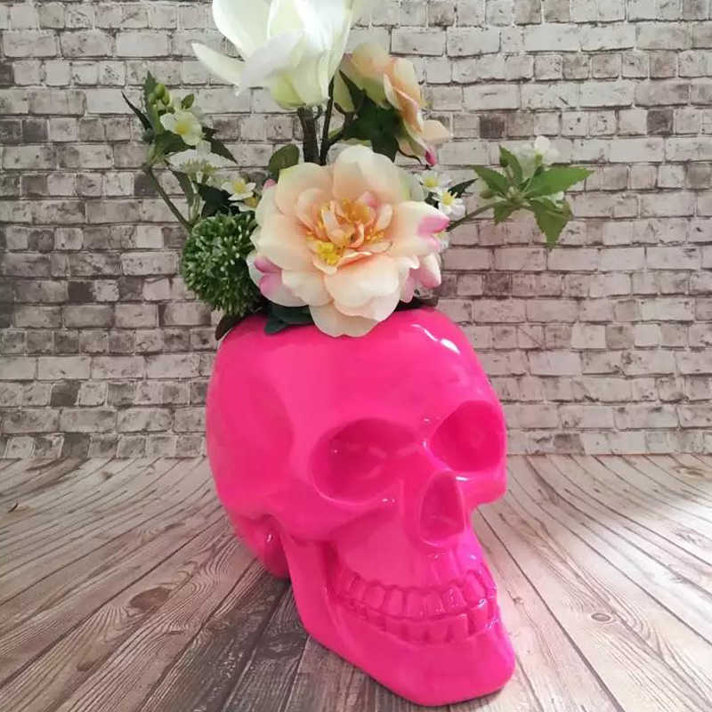 Halloween resin creative Skull head flowers vase pot vintage statue home decor crafts room decoration skull & Detail Feedback Questions about Creative Skull Storage Pot Skull ...