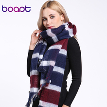 [boapt] cashmere blend scarves for women thick soft irregular tailoring plaid shawl stole cape plaids winter scarf luxury brand(China)