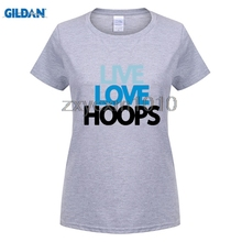 GILDAN Personality O Neck Short Sleeve Live Love Hoops Guy T shirt For Sale Large Size Basketballer Team women Print T Shirt(China)