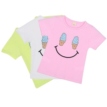 Cute Kids Boys Girls Printed Short Sleeve Casual T-shirt 2-7 Years 4 Patterns for Choose S01