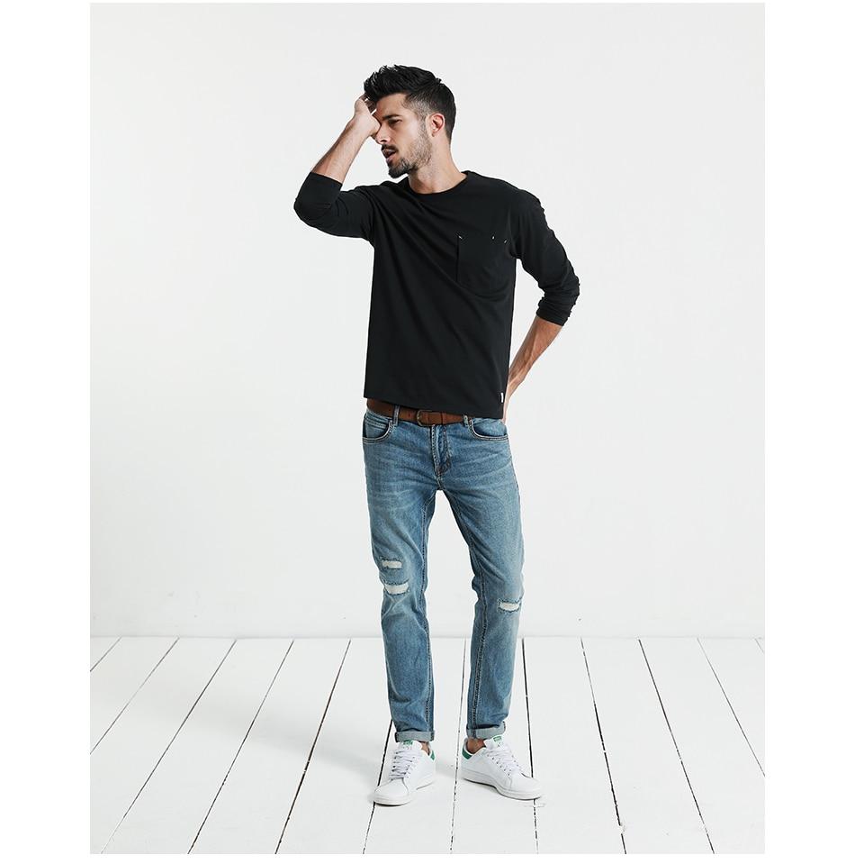 SIMWOOD 2018 Automne À Manches Longues T-shirt Hommes 100% Pur Coton Slim Fit Drôle de Mode De Poche Tops Haute Qualité TC017004 18