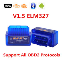 2016 Newest V1.5 Hot Selling Super Mini ELM327 Bluetooth ELM 327 OBD OBD II CAN-BUS Diagnostic TooL ELM327 Code Reader Scanner