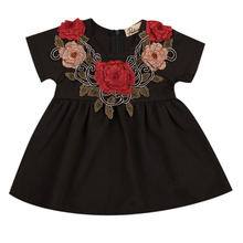 Summer Baby Girls Short Sleeve 3D Flower Dress Cute Children Embroidery Princess Party Holiday Dresses