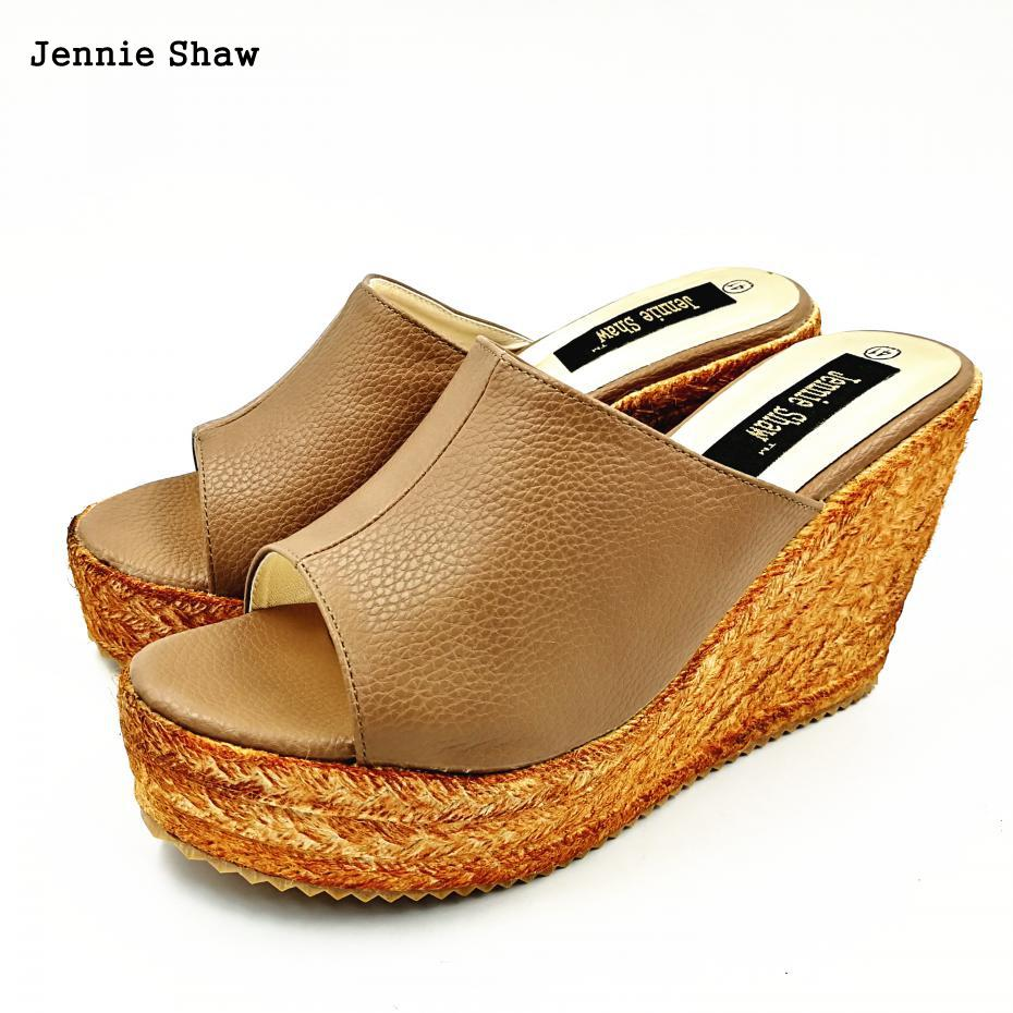 Wedges Sandals Knitted Platform Slippers Open Toe Ultra High Heels Shoes Women Plus Size<br>