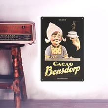 1pc European Retro smile girl metal iron crafts board Wall stickers picture painting draw used for bar or coffee shop(China)