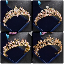Women Gold Tiara Crown Handmade Pink Crystal Wedding Hair Accessories Decorations Girls Party Prom Baroque Hair Ornaments Diadem