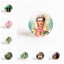 Frida Kahlo Glass Cabochon 25mm Round Photo Cameo Cabochon Setting Supplies for Jewelry Accessories Handmade Pattern Wholesale