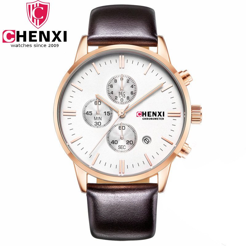 Mens Watches Top Brand Luxury CHENXI Men Military Sport Luminous Wristwatch Chronograph Leather Quartz Watch relogio masculino<br>