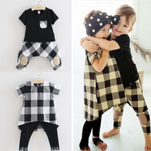 Girls Clothing sets Plaid Dress+Tassel Pants Boys Clothing Sets t Shirts+Plaid Pants Children Summer Cotton Outfits Baby Clothes(China)