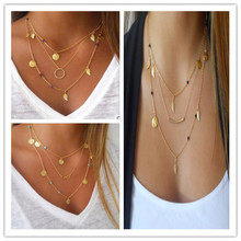 2016 New Hot Silver Fashion Chain Beads Metal Discs Jewelry Pendants Multi Layer Necklace Gold Necklaces For Women