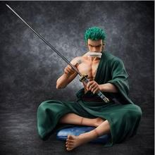 NEW hot 13cm One piece Roronoa Zoro Sitting position Action figure toys collection doll Christmas gift