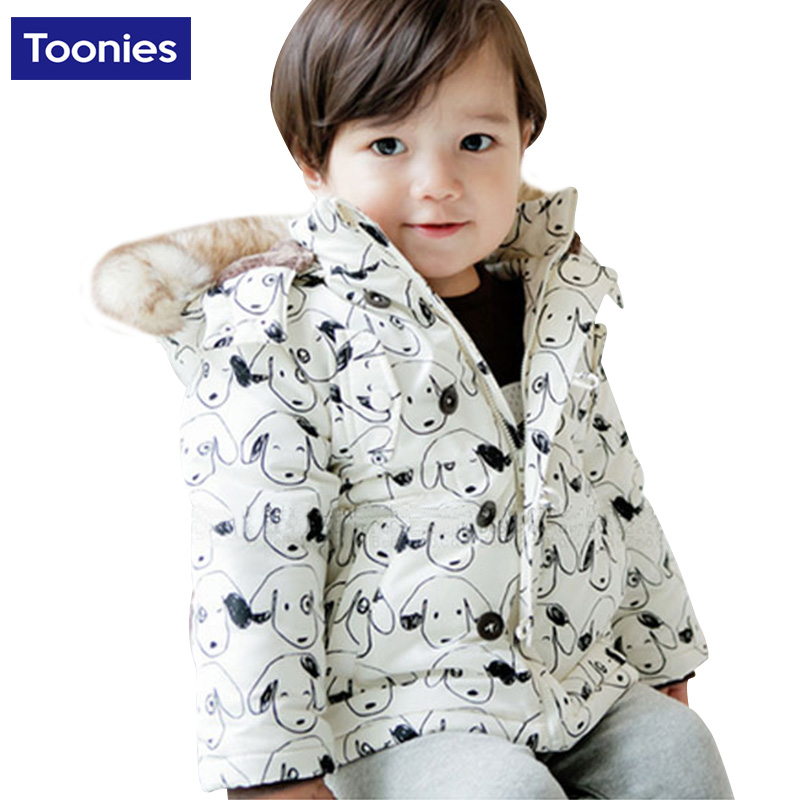 Hot Sale Autumn Winter Coat Cute Cartoon Printed Cotton-Padded Fashion Fur Collar Hooded Long Jacket Children Clothing NB0030Одежда и ак�е��уары<br><br><br>Aliexpress