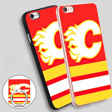 calgary flames hockey canada Phone Ring Holder Soft TPU Silicone Case Cover for iPhone 4 4S 5C 5 SE 5S 6 6S 7 Plus