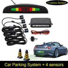 Free Shipping 1Set Car LED Parking Sensor Kit Display 4 Sensors for all cars Reverse Assistance Backup Radar Monitor System(China)