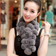 Lady Fashion Winter Genuine Rex Rabbit Fur Scarves Women Fur Pashmina Wraps Neck Rings VK2235(China)