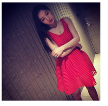 2016 hot selling women's fashion sleeveless dress girls sexy slim nice red dress holiday beach elegant Korean style size M #H782