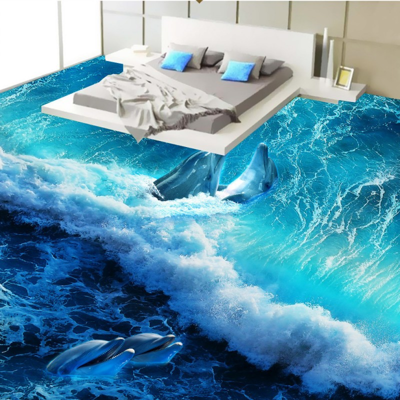 Free Shipping Sea wave dolphin flooring painting paste kitchen studio office decoration wear floor wallpaper mural<br>