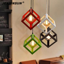 1pcs American Design Iron Industrial Style Loft Pendant Lights Single Head Cube Hanging Lights Lamp for Bar Restaurant Decor
