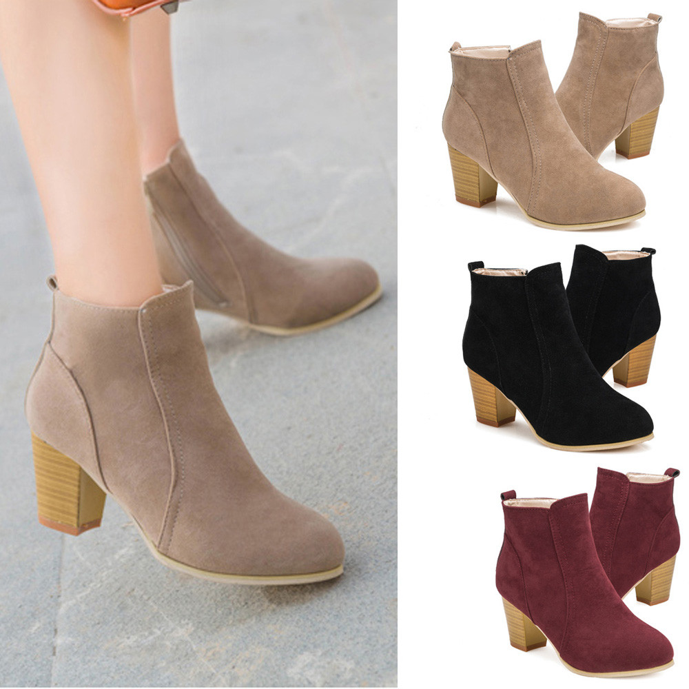High quality New Womens Winter Ankle Boots Low Heels Fashion Boots Autumn Winter Boots Shoes 170210<br><br>Aliexpress