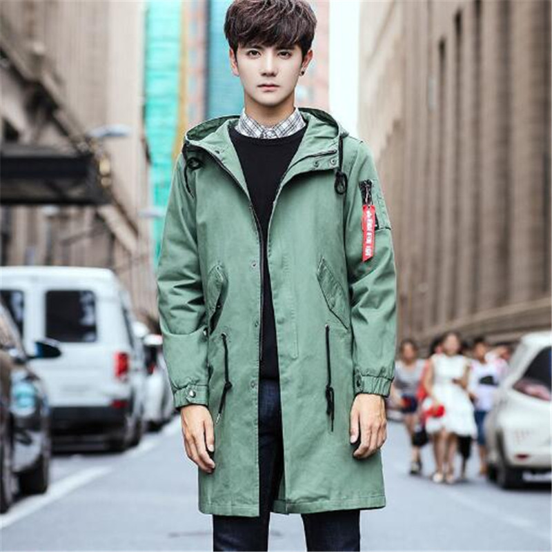 Tang cool 2018 Autumn Winter Men's Trend Plus Size 5XL Trench MALE Praka Long Coat Long Wind Waist Hooded Trench