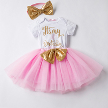 Newborn Baby Girl Clothes 1 Year Baptism Gold Sequins Infant Clothing Sets Bodysuit/Romper Skirt Headband Outfit Baby Born Gift