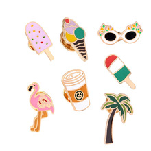 8Style Cheap Flamingo Palm Tree Banana Ice Cream Starbucks Coffee Pins Collar Badge Women Fashion Cute Brooch Pin for Gift(China)