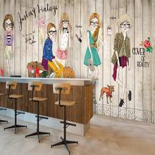 Solid wood white brick fashion girl wallpaper modern living room bedroom 3D wallpapers large mural