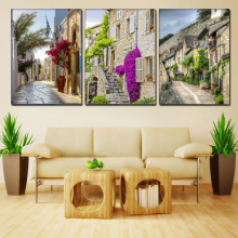 canvas art print chinese oil painting calligraphy wall pictures for living room Europe and America nostalgic town (No Frames)(China)