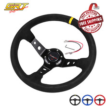 Free Shipping Ryanstar Steering wheel 14inch 350mm OMP Deep Corn Drifting Steering Wheel/Suede Leather Steering wheels 3 colors(China)