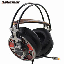 Askmeer V16 USB Professional Stereo Gaming Headphones With Microphones Led Light Big Earmuff PC Gamer Game Headset for Computer