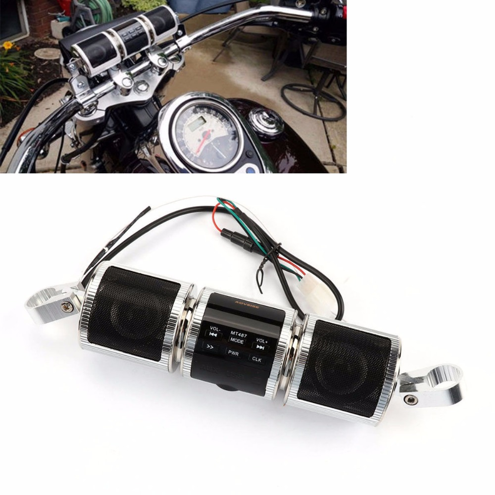 Motorcycle Handlebar Bluetooth Audio Sound System MP3 FM Radio Stereo Speakers Silver Cruiser Chopper Cafe Racer Bobber<br>