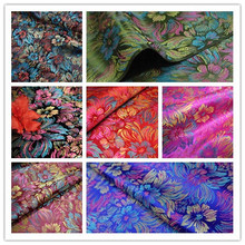 Black red carpet of rainbow flower/brocade fabric, silk fabric performance costume outfit ancient han/100CM*90CM