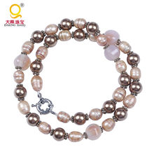 Chic multi-elements champagne pearl stone necklace semi precious stones pearls short necklace partyware necklace(China)