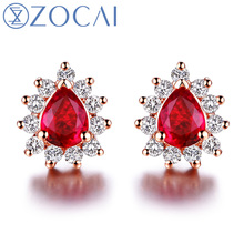 ZOCAI Genuine Ruby Gemstone 0.30 CT Certified Ruby Stud Earrings with 0.16 CT Diamond 18K Rose Gold (AU750) E00759