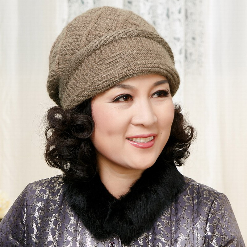 Double layer thickening thermal quinquagenarian hat millinery autumn and winter hat knitted rabbit fur hat ear hat mothers giftОдежда и ак�е��уары<br><br><br>Aliexpress