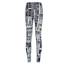 Elastic Casual Pants 3D Digital Printing English newspapers Pattern Women Leggings 7 sizes Fitness Clothing Free Shipping