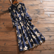 2017 New Arrival Spring Autumn Women Casual Dress Loose Waist Round Neck Printed Corduroy Vestidos Long Sleeve Vintage Dresses(China)
