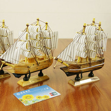 DIY 16CM Wood Sailboat Crafts Mediterranean Style Model Figurine Ship miniaturas Seascape for Home Decoration Accessories Gifts