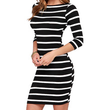 2017 Women's Fashion Black And White Striped Bodycon Spring Summer Dresses Slimming Wrap Clothing For Woman Casual Dress