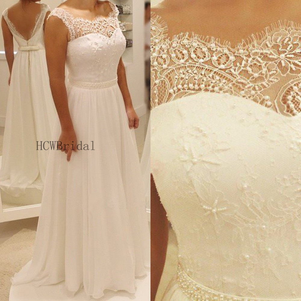 2019 New Lace Chiffon Wedding Dress Backless A Line Floor Length Chic Beaded Belts Bridal Dresses Custom Made Robe De Mariee
