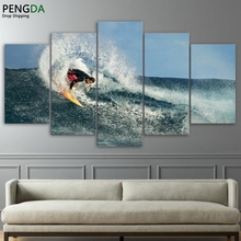 Modern Wall Art Modular Pictures HD Printed 5 Pieces Poster Ocean Surfing Wave Seascape Canvas Painting Home Decor Frame PENGDA
