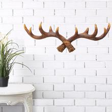 Hooks Vintage Resin Deer Antler Rack Crafts Home Decorative Wall Hat Coat Hanging Hanger For Home Storage Organization(China)