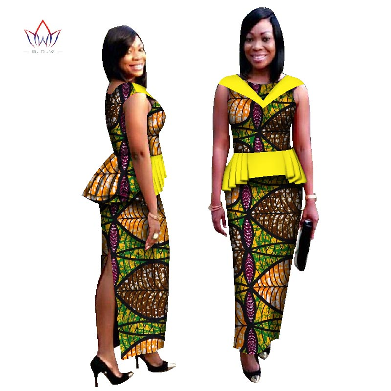 Dashiki African Wax Print Skirt Set Bazin Riche Two Piece Set African Clothes for Women Cotton Crop Skirt and Top Set WY1053